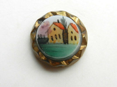 Sweet Little Antique Waistcoat Button Miniature Painting House and Tree Scene