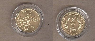 1996 U.S. Olympic Commemorative Flag Bearer UNC $5 Gold Coin