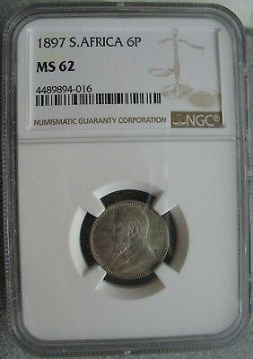 1897 South Africa 6 Pence NGC MS-62