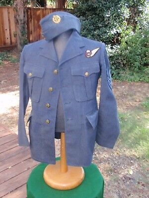 Rcaf Service Dress Tunic, Trousers & Sidecap - Sergeant Air Gunner 1942 Wwii