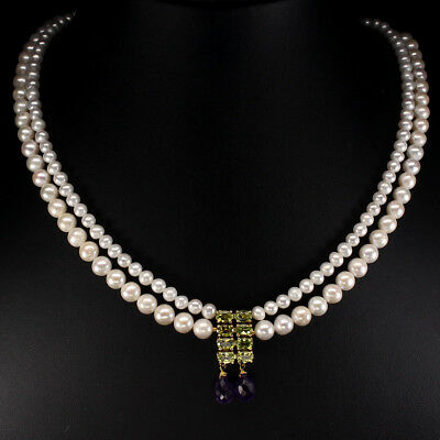 Mesmerizing Top Rich Green Peridot Amethyst Pearl 925 Sterling Silver Necklace