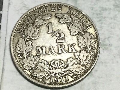 GERMANY 1911-A 1/2 Mark silver coin very nice condition