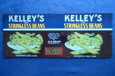 Vintage Can Label Kelley's Stringless Beans H.E. Kelley New Church Virginia