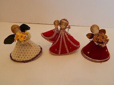 3 VTG Koestel Small Wax Angels CHristmas Decorations Germany