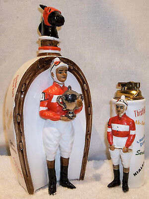"Vintage SwanK ""At the Post"" Jockey Horse Racing Figural Decanter & Lighter NICE!"