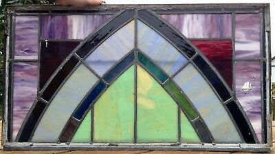 Antique leaded Slag Stained Glass Church Gothic window panel-some repair needed