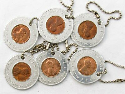 Encased 1973-D Lincoln Wheat Cents-U.S. Bank Good Luck Penny Sample Keychains