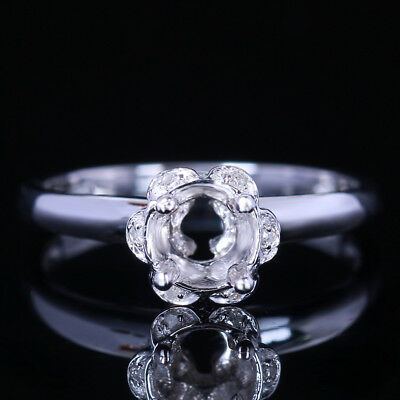 Solid 10K White Gold Setting Semi-mount Engagement Diamond Ring Round 5mm-6mm