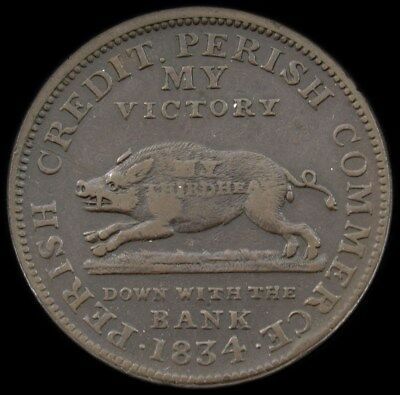 HT-11 Low 10 Andrew Jackson Running Boar Hard Times Token