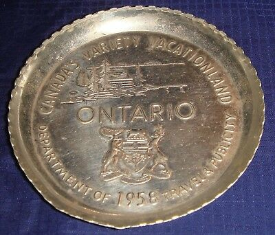 BG392 Vtg Metal Coaster 1958 Ontario ON Ont Department Of Travel & Publicity