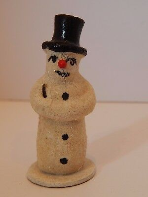 Antique 1920s Christmas Snowman Composition Glitter Snow Baby Figure Germany