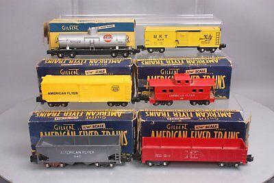 American Flyer S Gauge Freight Cars: 631, 637, 638, 639, 625G, 640 (6)