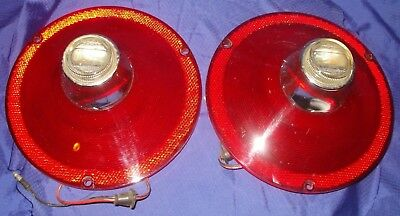BH036 1961 61 Ford Tail Light Lens w/ Backup Lights NOS