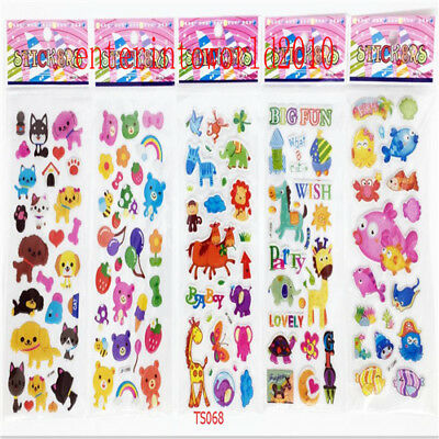 5pcs stickers lot Animal plant fruit kid favor crafts teacher reward gift 3D PVC