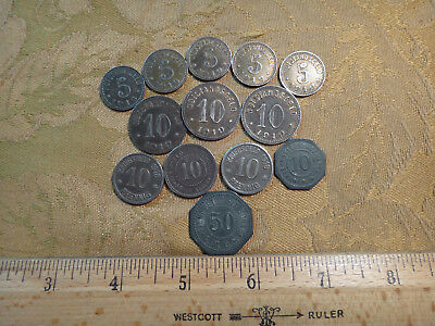 Mixed Lot Of 13 Old Germany Not Geld Coins Pfennig - Free S&H USA
