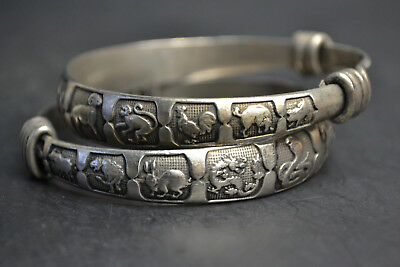 Collectible China Handwork Old Tibet Silver Chinese 12 zodiac Theme Bracelet