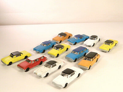 HO 1/87 Plastic Vehicles LOT #2 of ONE DOZEN (12) ASSORTED CHEAP PLASTIC CARS