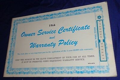 BH1060 1966 66 Chrysler Owner Service Certificate & Warranty Policy