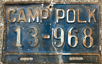 WWII Camp Polk Army License Plate Topper Plate