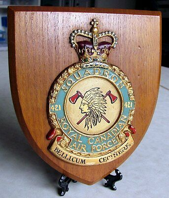 RCAF Royal Canadian Air Force 421 SQUADRON Plaque 50s-60s Era Made in GT Britain