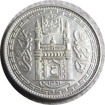 elf India Hyderabad 1 Rupee AH 1361 /Yr 32  AD 1942  Silver   World War II