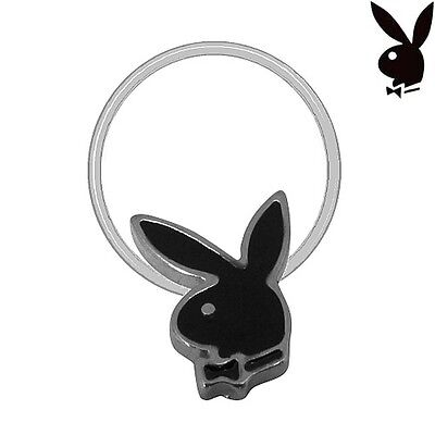 Playboy Toe Ring Sterling Silver Plated Bunny Black Stretch Illusion Band Pinky