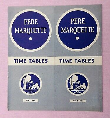 Old- vintage June1936 Pere Marquette railroad train time table; railway