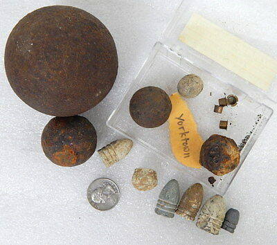 Revolutionary War Relics Battle of Yorktown VA Grapeshot Cannon Ball Bullets