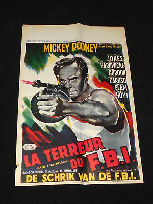 Baby Face Nelson Mickey Rooney Original  Belgian Movie Poster