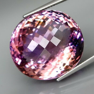 37.28Ct.Real Natural GIANT Purple&Golden Ametrine Oval Checkerboard Eye Clean!