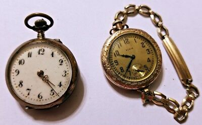 Vintage Wind Up ELGIN + other Pocket Watch 2 watches - gold filled