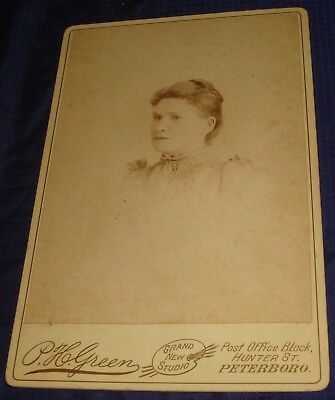 BR615 Vtg Peterboro ON Cabinet Card Photo by P H Green Unidentified Woman