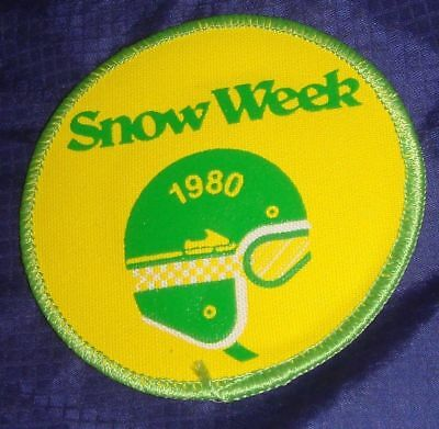 BS149 Vtg Snow Week Event Snowmobile Badge Crest Patch 1980
