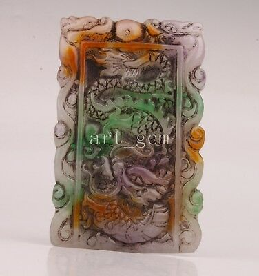 Jade Pendant Statue Figurine Carved Dragon Sacred Crafts Gift Collectable