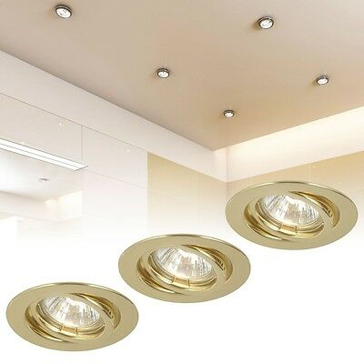 Recessed Spotlight Set of 3 50 Watt Spot Lamp Lights Living Room Brass