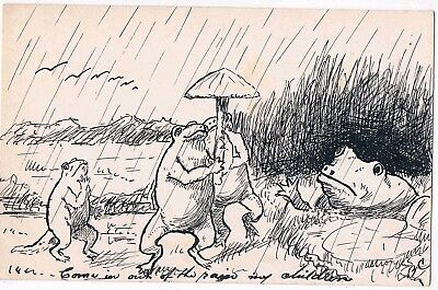 """HAND DRAWN PC OF FROGS  """"COME IN OUT OF THE RAIN MY CHILDREN"""" c1910"""
