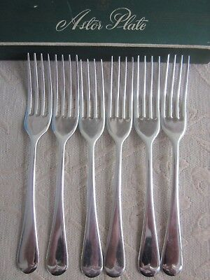 vintage ASTOR PLATE silverplated 6 DESSERT - ENTREE FORKS new in box