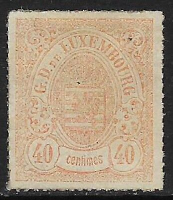 LUXEMBOURG 1867 Rouletted 40c Orange-Red SG 36 MH/* (Cat £1700)