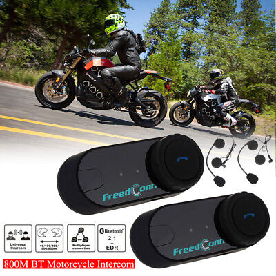 2x 800M BT Motorrad Bluetooth Intercom 2 Riders Gegensprechanlage FM GPS Headset