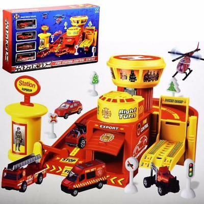 Fire Station Play Set Control Center Toy Garage Ramp Diecast Vehicles Cars