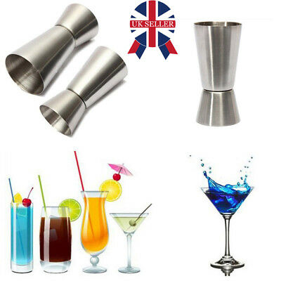 2 X Stainless Steel Double Single Shot Measure Jigger Spirit Cocktail Drink Cup