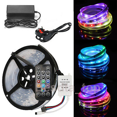 5M 5050SMD RGB LED Strip Light Chasing Magic Dream Color Addressable & PSU