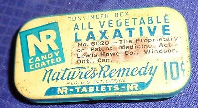 ML312 Vtg Lewis Howe Co. Natures Remedy All Vegetable NR Tablets Hinged Lid Tin