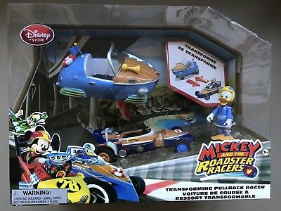 Disney Store Mickey & The Roadster Racers Transforming Pullback Racer Donald NIB