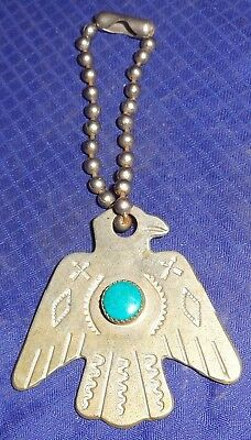 ML326 Vtg New Mexico State Council Machinists Key Chain Fob w/ Turquoise Stone