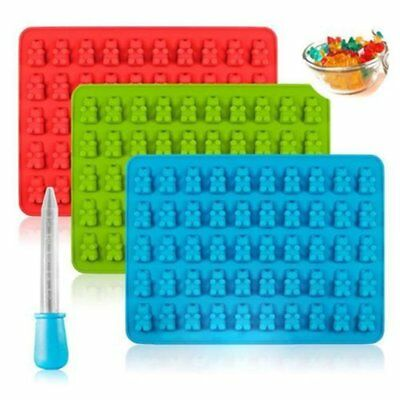 50 Cavity Silicone Gummy Bear Chocolate Mold Candy Maker Ice Tray Jelly Mould TU