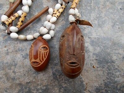 2 Vintage~Quirky~Weird Carved Nuts~Tribal Heads~Faces On Bamboo & Shell Beads