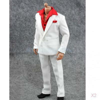 "2x 1:6 Suit Set Shirt Pants Outfit for 12"" Hot Toys BBI Dragon Male Figure Body"