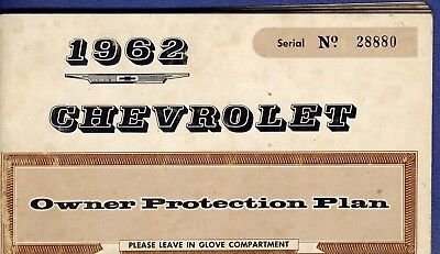 RF1086 1962 62 Chevrolet Chev Chevy Owners Manual
