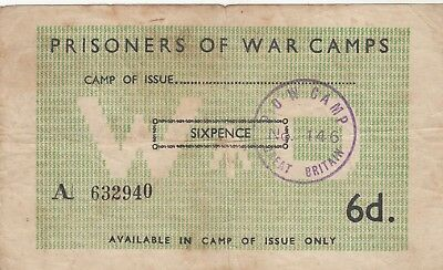 2nd World War Prisoners of War Camp No146 Bank Note Violet POW Camp 146 GB Cance